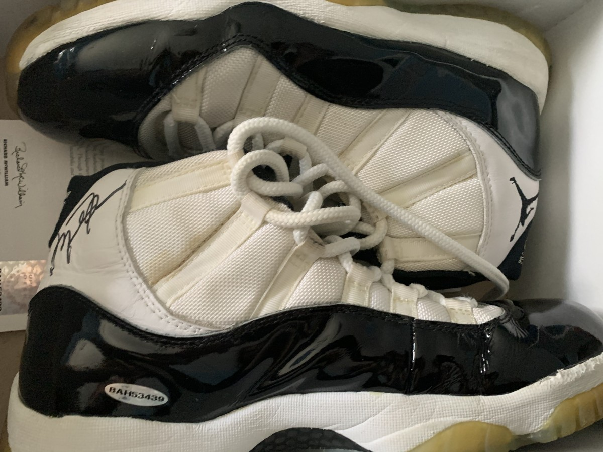 Mary Berdo's Air Jordan 11s, signed by Michael Jordan himself.
