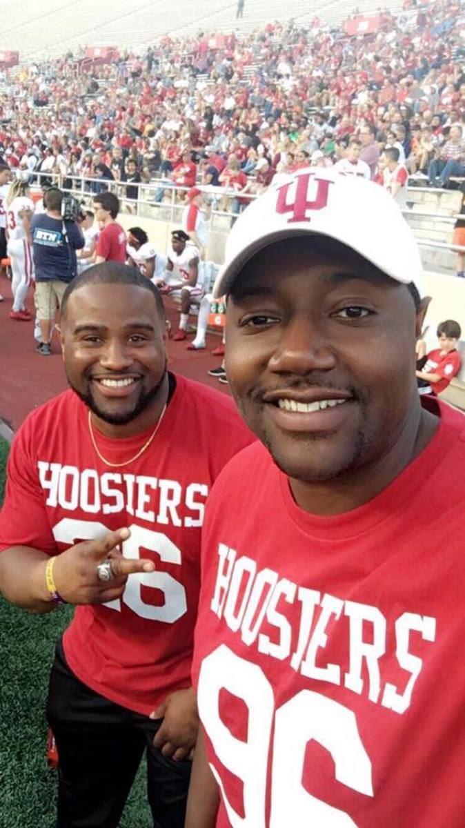 Brandon Mosley (left) and Chris Beaty on the sidelines during a recent Indiana University football game.