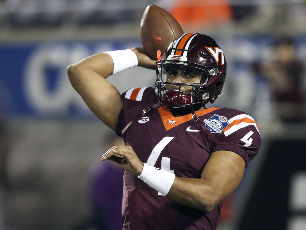 Dec 3, 2016; Orlando, FL, USA; Virginia Tech Hokies quarterback Jerod Evans (4) warms up prior to a game against the Clemson Tigers during the ACC Championship college football game at Camping World Stadium. Mandatory Credit: Logan Bowles-USA TODAY Sports