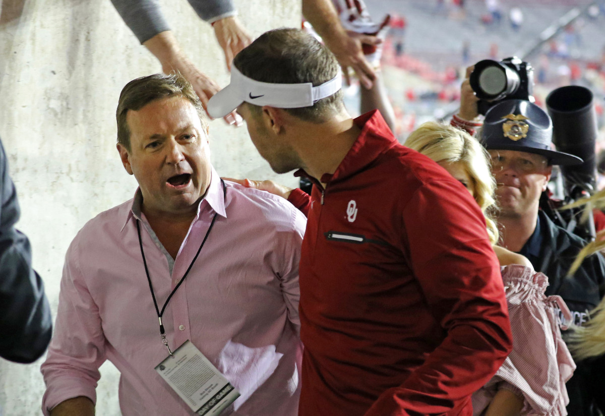 Bob Stoops and Lincoln Riley after OU's win at Ohio State.