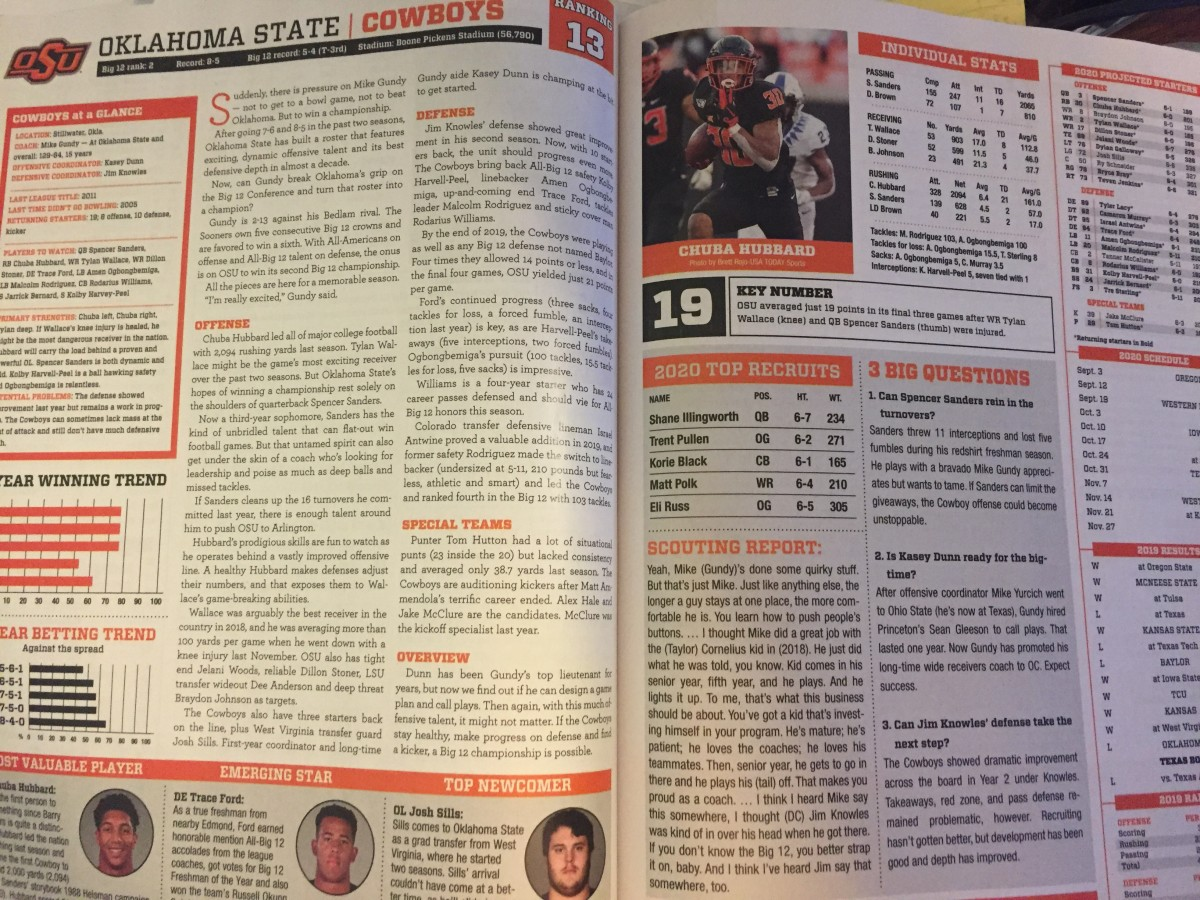 Oklahoma State gets high marks from Lindy's College Football National 2020 Preview.