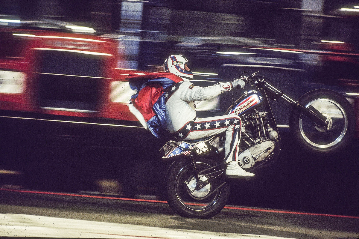Knievel in 1974, revving his Harley and ramping up Christmas-toy sales.