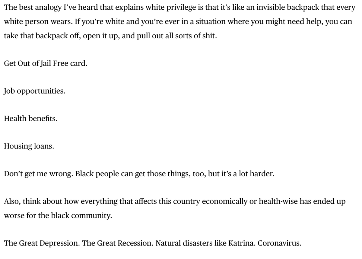 Screenshot of Kuzma's letter in the Players Tribune.