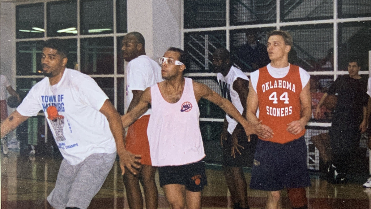 Michael Jordan on the court during a pickup game