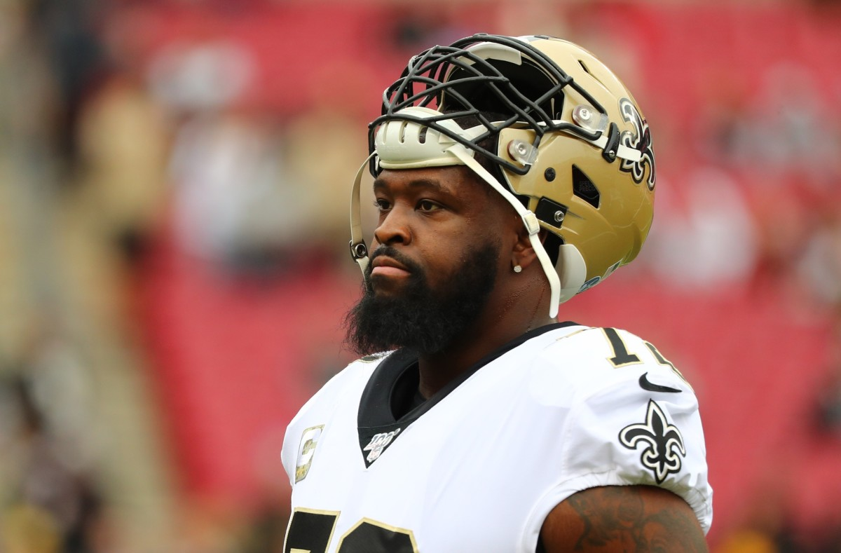 New Orleans Saints offensive tackle Terron Armstead (72) works out prior to the game at Raymond James Stadium. Mandatory Credit Kim Klement