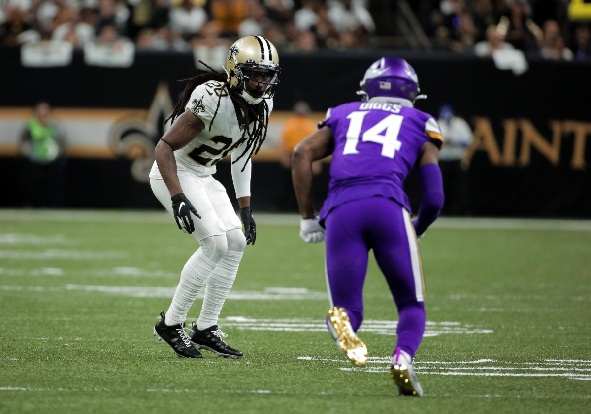 Jan 5, 2020; New Orleans, Louisiana, USA; New Orleans Saints cornerback Janoris Jenkins (20) defends Minnesota Vikings wide receiver Stefon Diggs (14) during the second quarter of a NFC Wild Card playoff football game at the Mercedes-Benz Superdome. Mandatory Credit: Derick Hingle-USA TODAY Sports