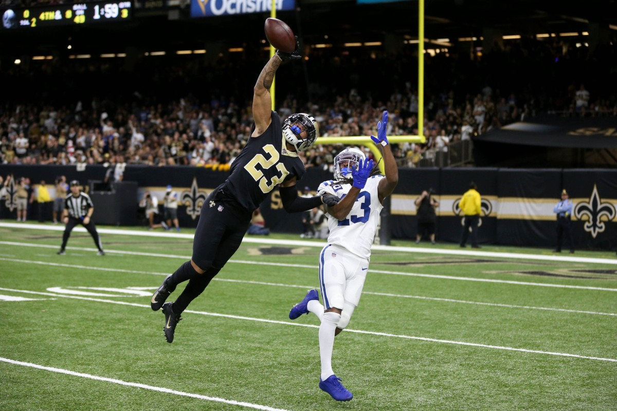 Dec 16, 2019; New Orleans, LA, USA; New Orleans Saints cornerback Marshon Lattimore (23) defends a pass intended for Indianapolis Colts wide receiver T.Y. Hilton (13) in the fourth quarter at the Mercedes-Benz Superdome. Mandatory Credit: Chuck Cook-USA TODAY Sports