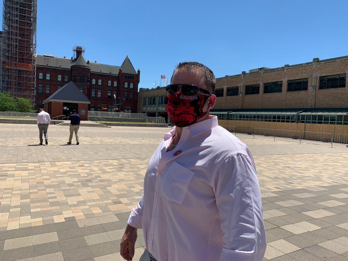 "Beaty business partner Joe Bobish wore a ""Live Like Chris'' mask to the memorial service."