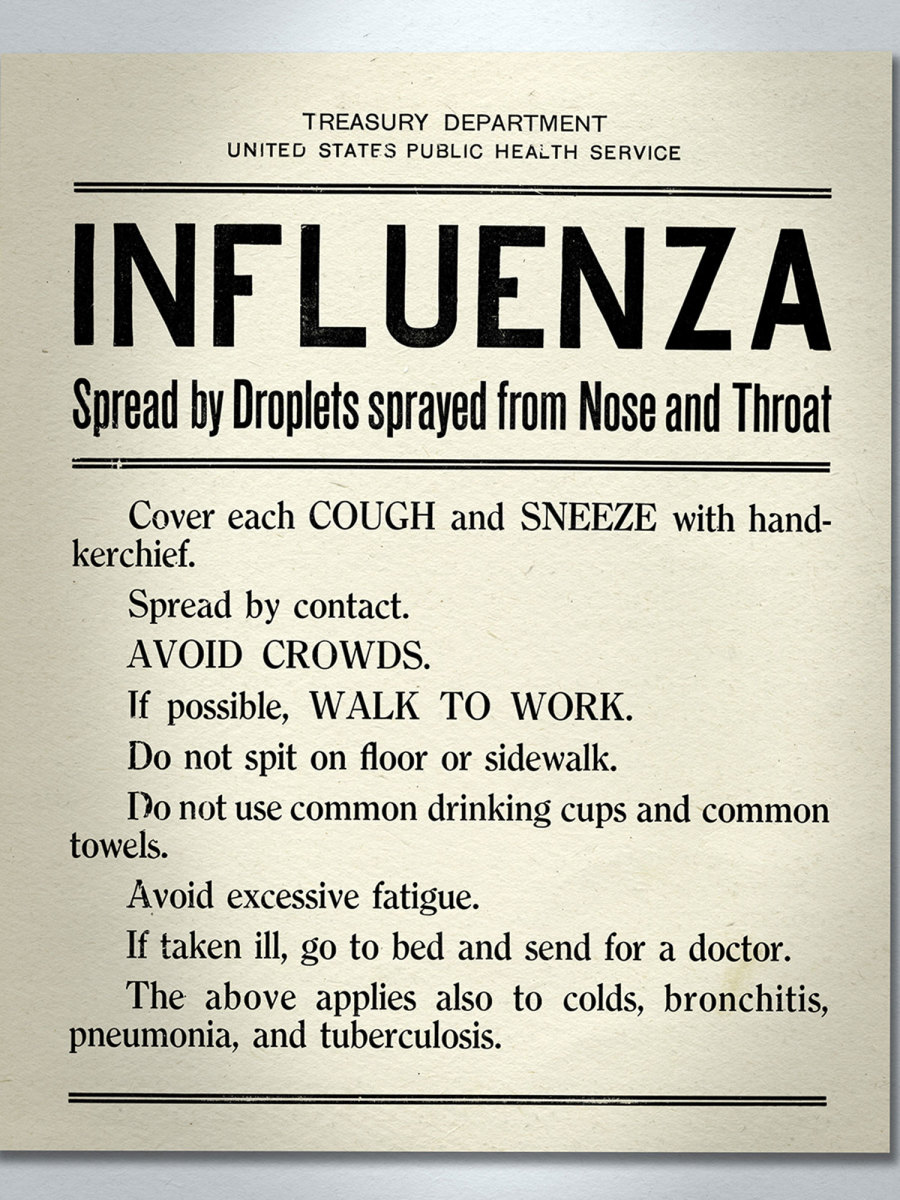 A sign warning about the spread of influenza