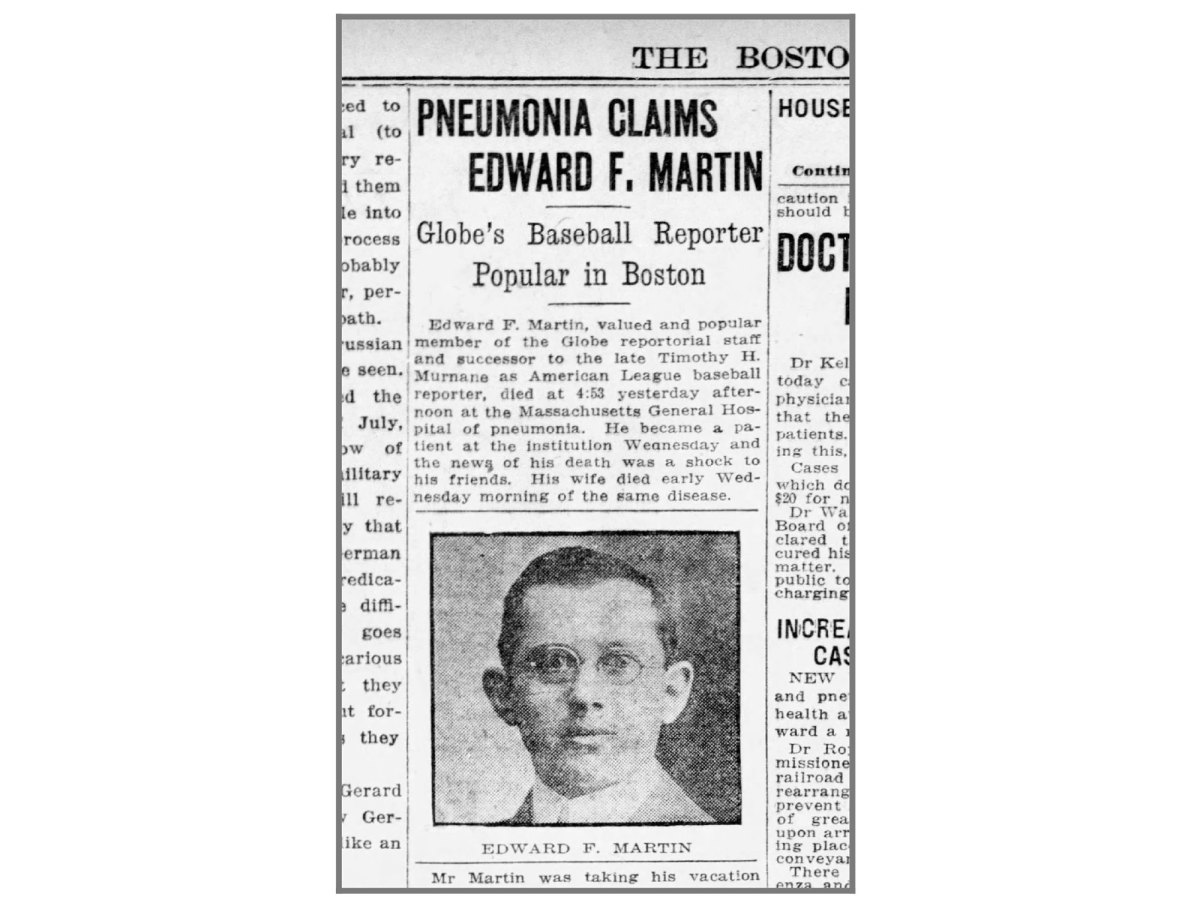 Newspaper clipping on the death of Edward Martin