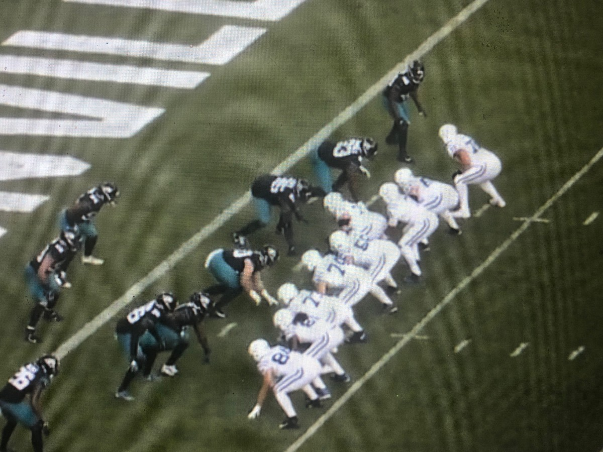 The Jaguars defense in a 50 front against the Indianapolis Colts in Week 17, 2019