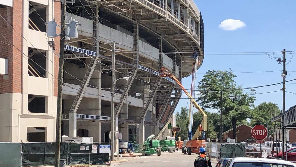 Bryant-Denny Stadium renovation, north side, June 2020
