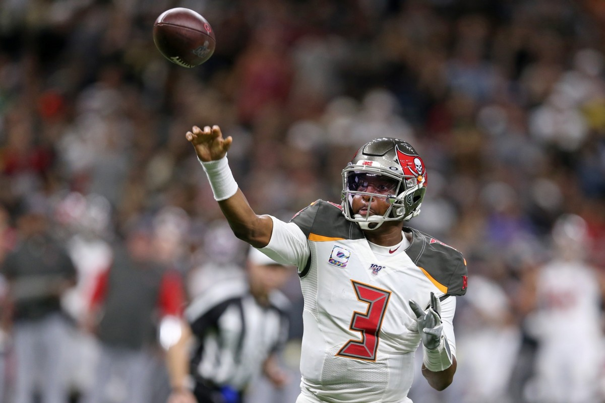 Oct 6, 2019; New Orleans, LA, USA; Tampa Bay Buccaneers quarterback Jameis Winston (3) makes a throw in the second half against the New Orleans Saints at the Mercedes-Benz Superdome. Mandatory Credit: Chuck Cook-USA TODAY Sports