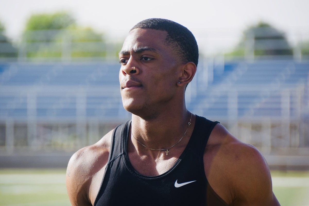 Demarco (DJ) Jones during his workout at Victory Christian HS