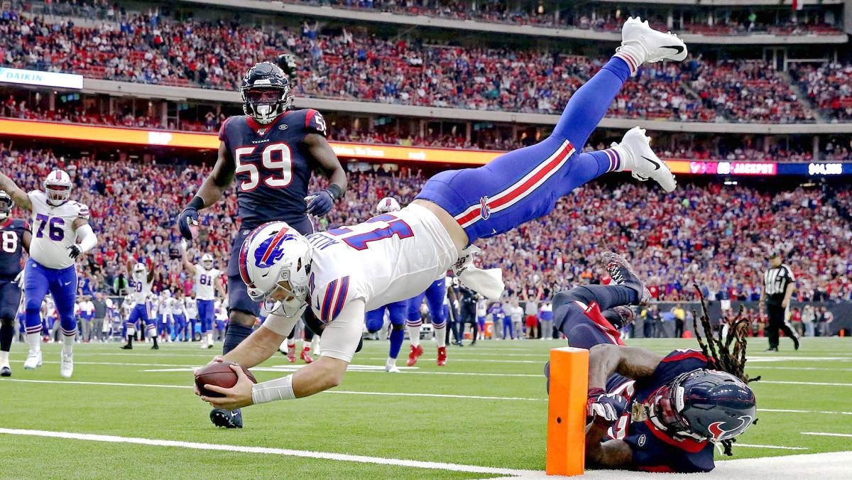 Josh Allen diving for a touchdown