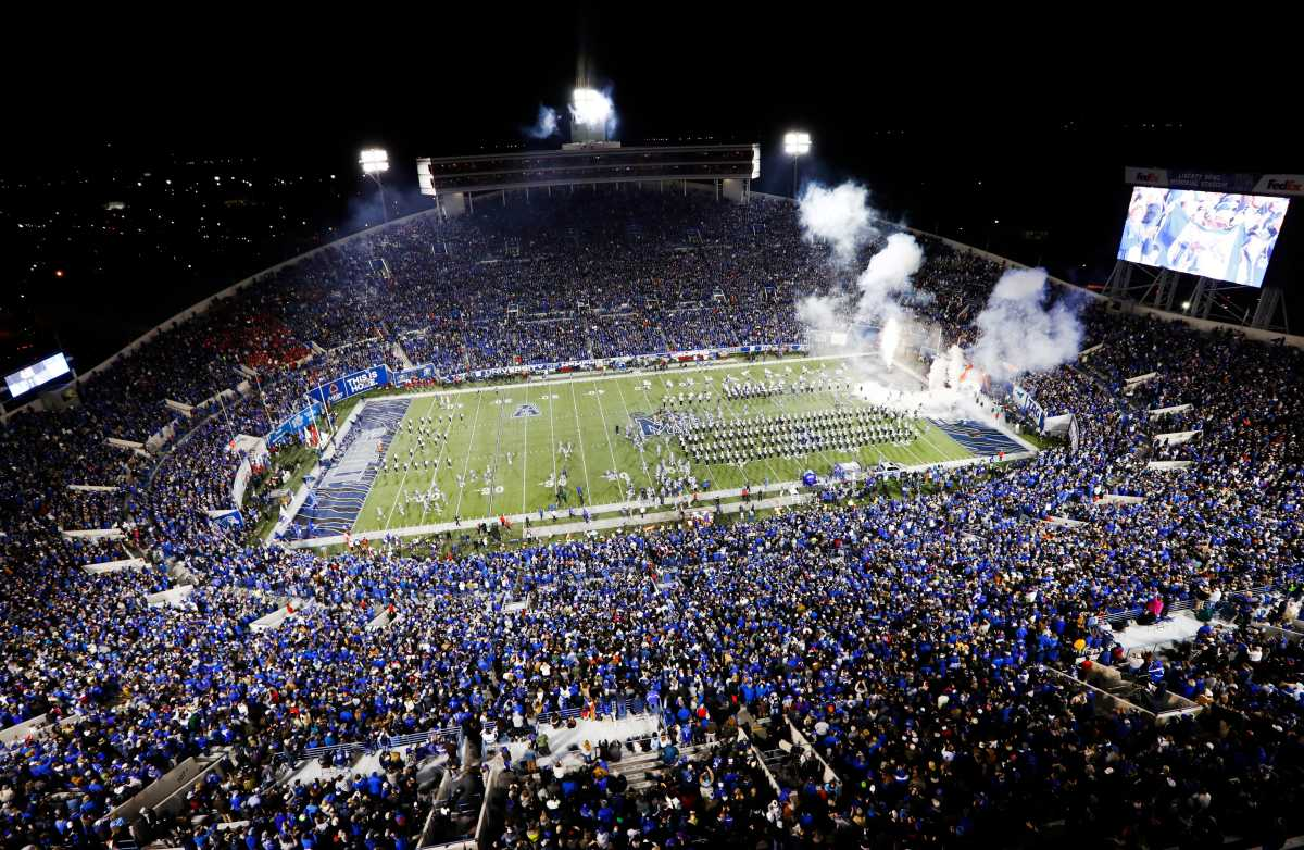 Football fans fill Liberty Bowl Memorial Stadium for Memphis versus SMU.