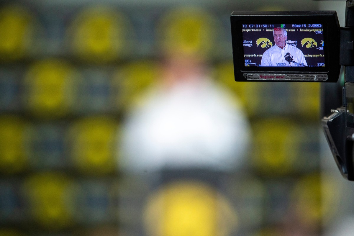 TV cameras record Gary Barta's press conference on Monday. (Joseph Cress/Iowa City Press-Citizen for USA Today Sports)