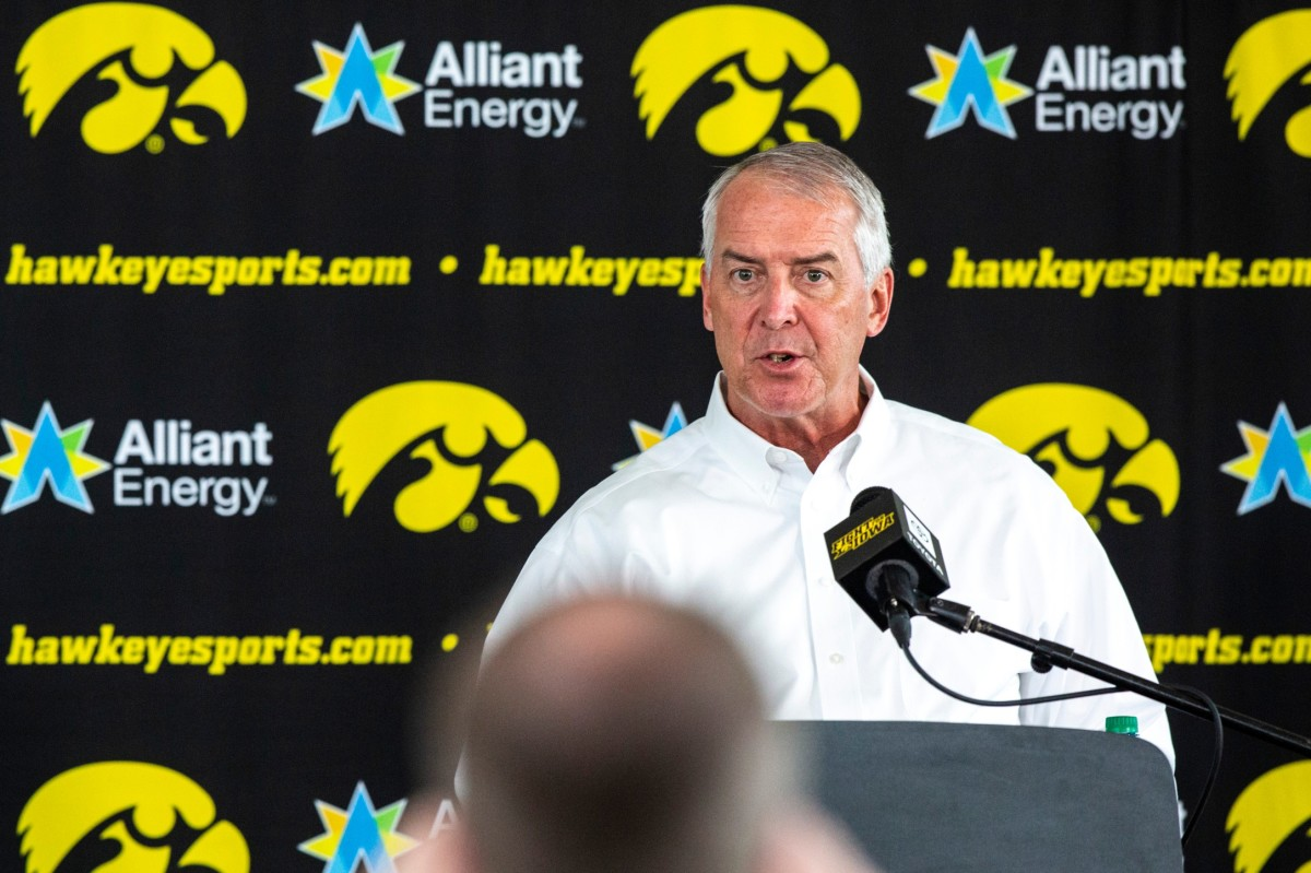 Iowa athletics director Gary Barta answers a question during Monday's press conference. (Joseph Cress/Iowa City Press-Citizen for USA Today Sports)