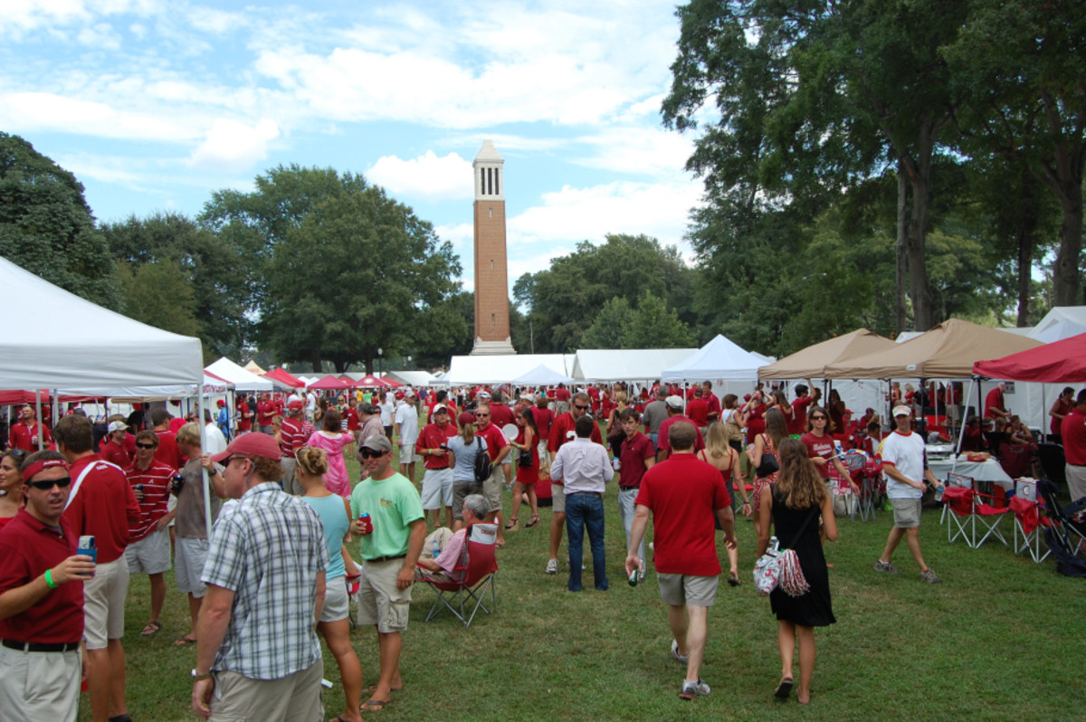 What the Quad looks like on a typical Alabama game day