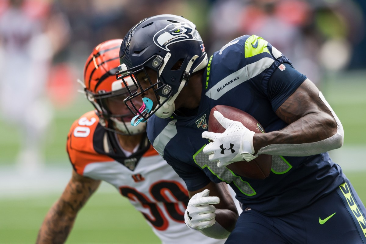 Seattle Seahawks wide receiver D.K. Metcalf (14) during the first half at CenturyLink Field. Seattle defeated Cincinnati 21-20.