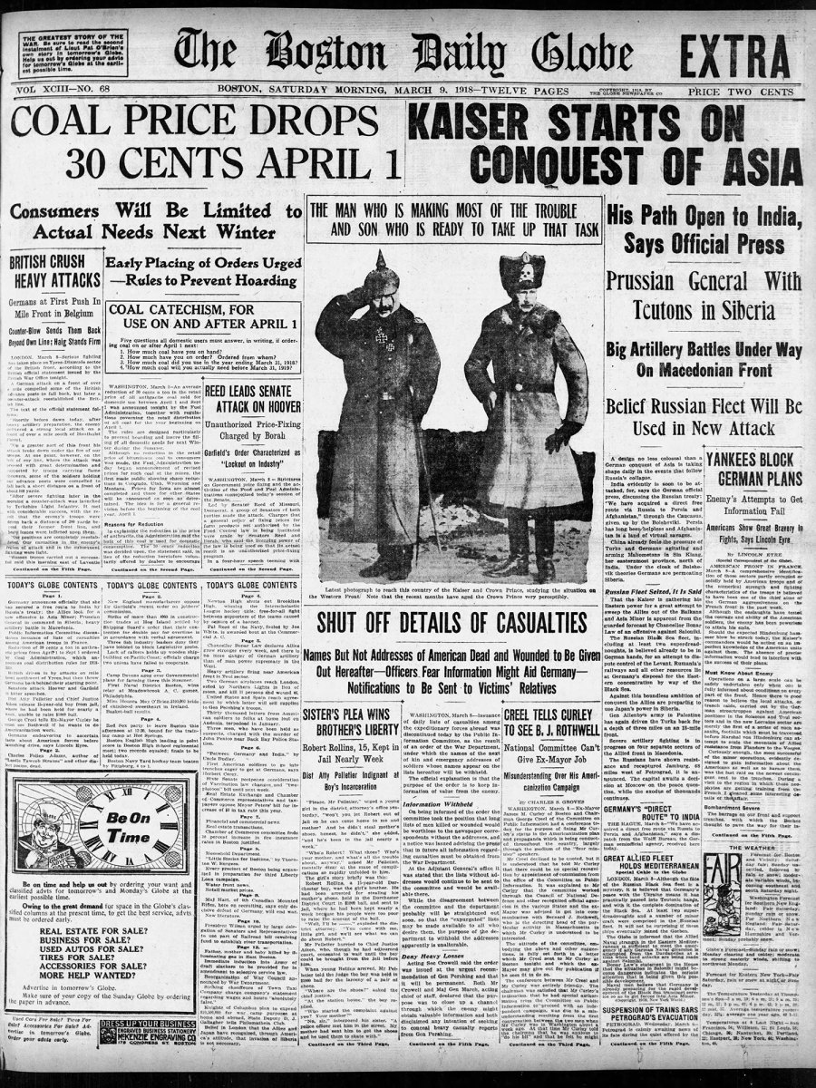 Edition of the Boston Globe from March 9, 1918