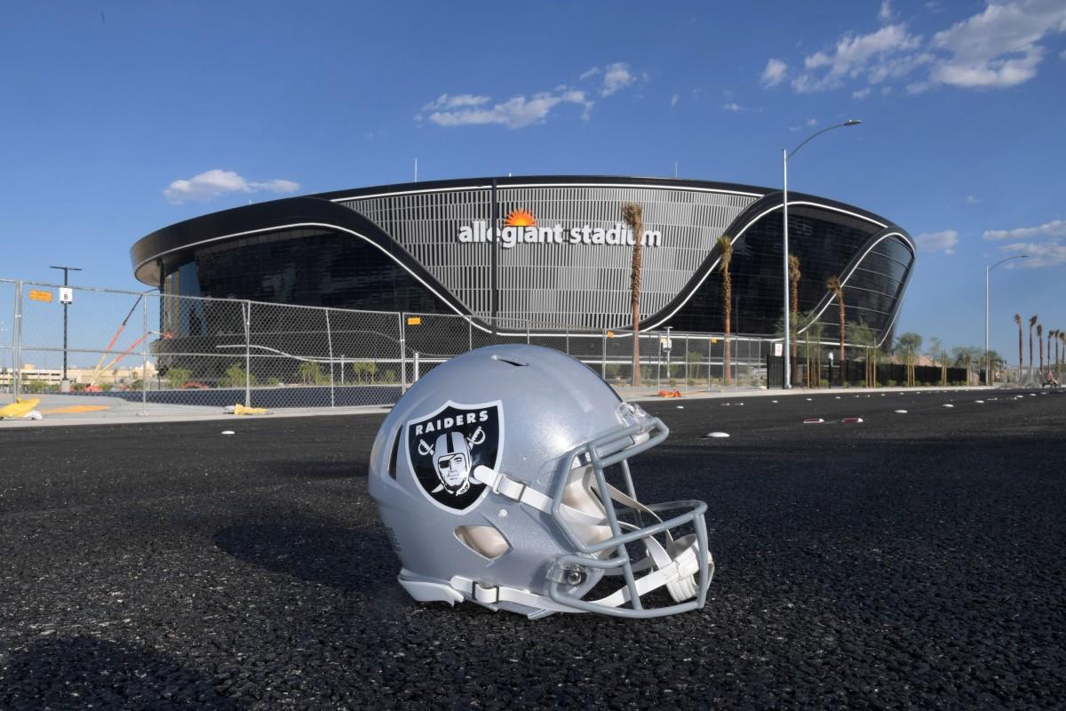allegiant stadium raiders helmet.