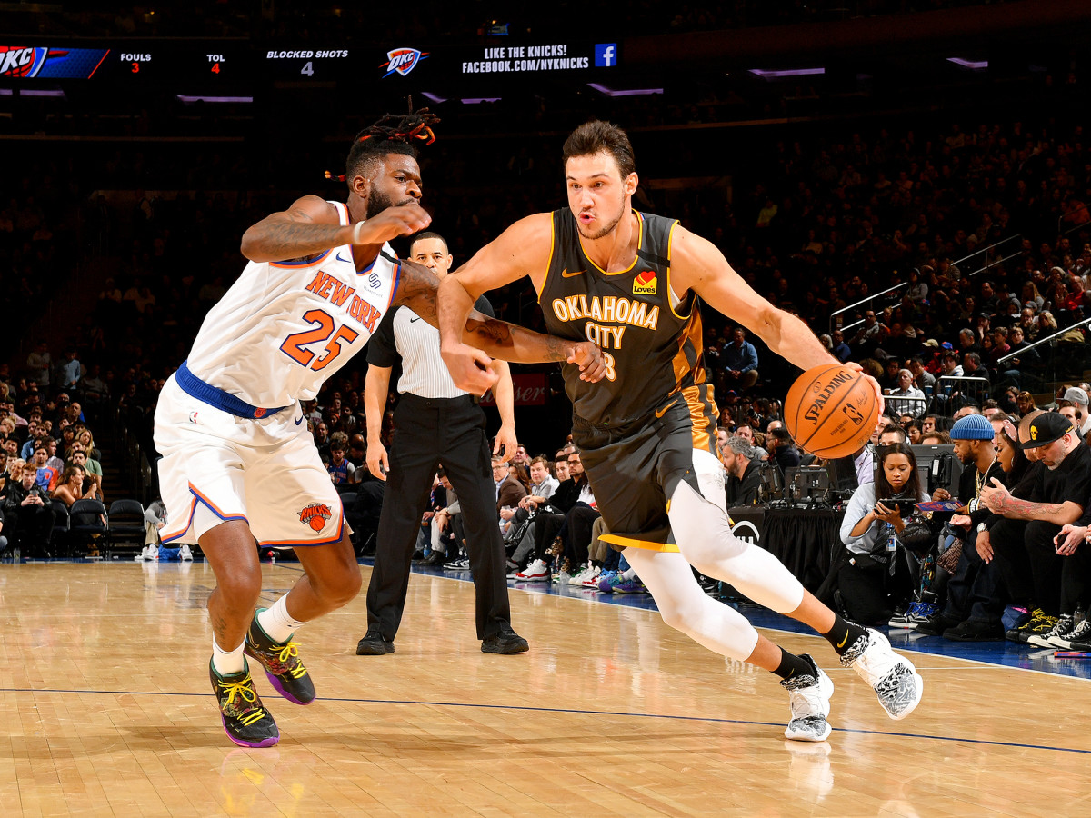 NEW YORK, NY - MARCH 6: Danilo Gallinari #8 of the Oklahoma City Thunder drives to the basket against the New York Knicks on March 6, 2020 at Madison Square Garden in New York City, New York.