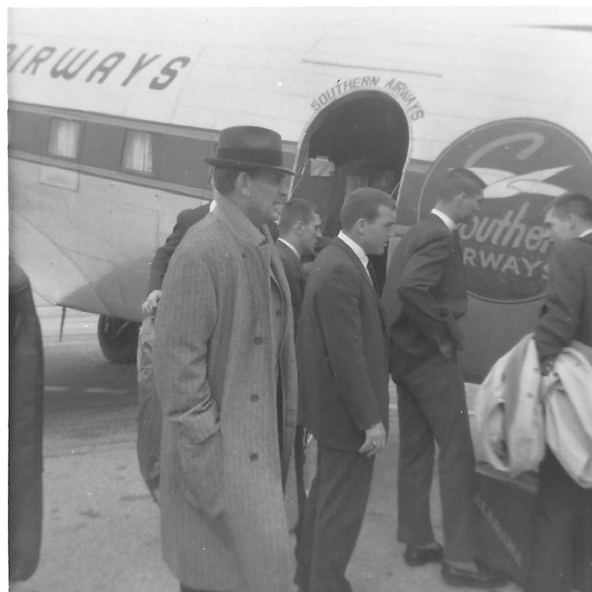 Coach Paul Bryant and Alabama arrive in New Orleans for the Sugar Bowl.