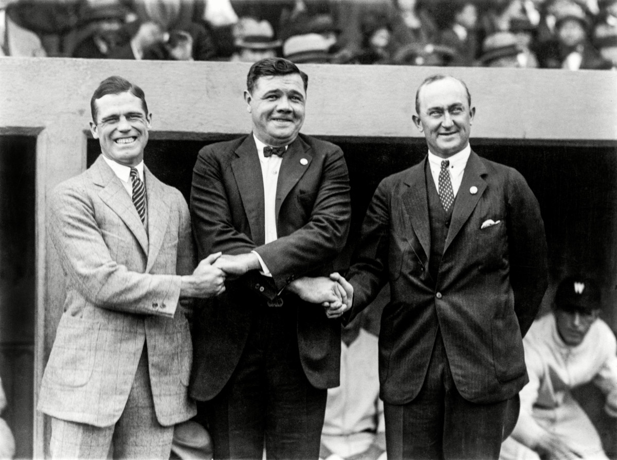 Babe Ruth: Renowned batter. More-renowned hand-pumper. (Here with George Sisler and Ty Cobb.)