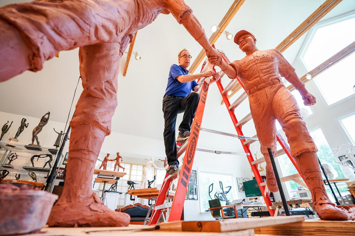Mellon at work on his Robinson-Shuba sculpture.