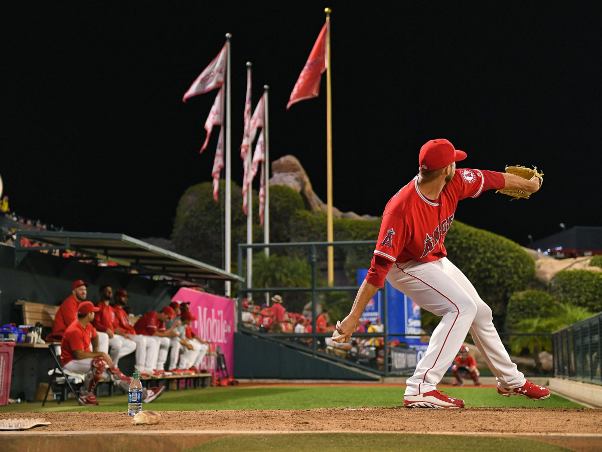 Angels pitcher throws a ball