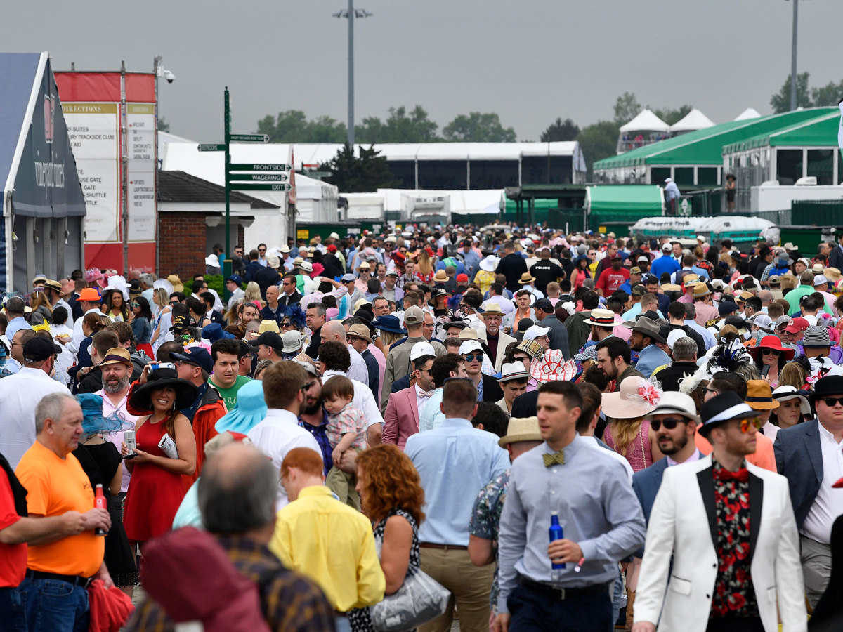 A general view of fans in the infield during the 145th running of the Kentucky Derby at Churchill Downs.