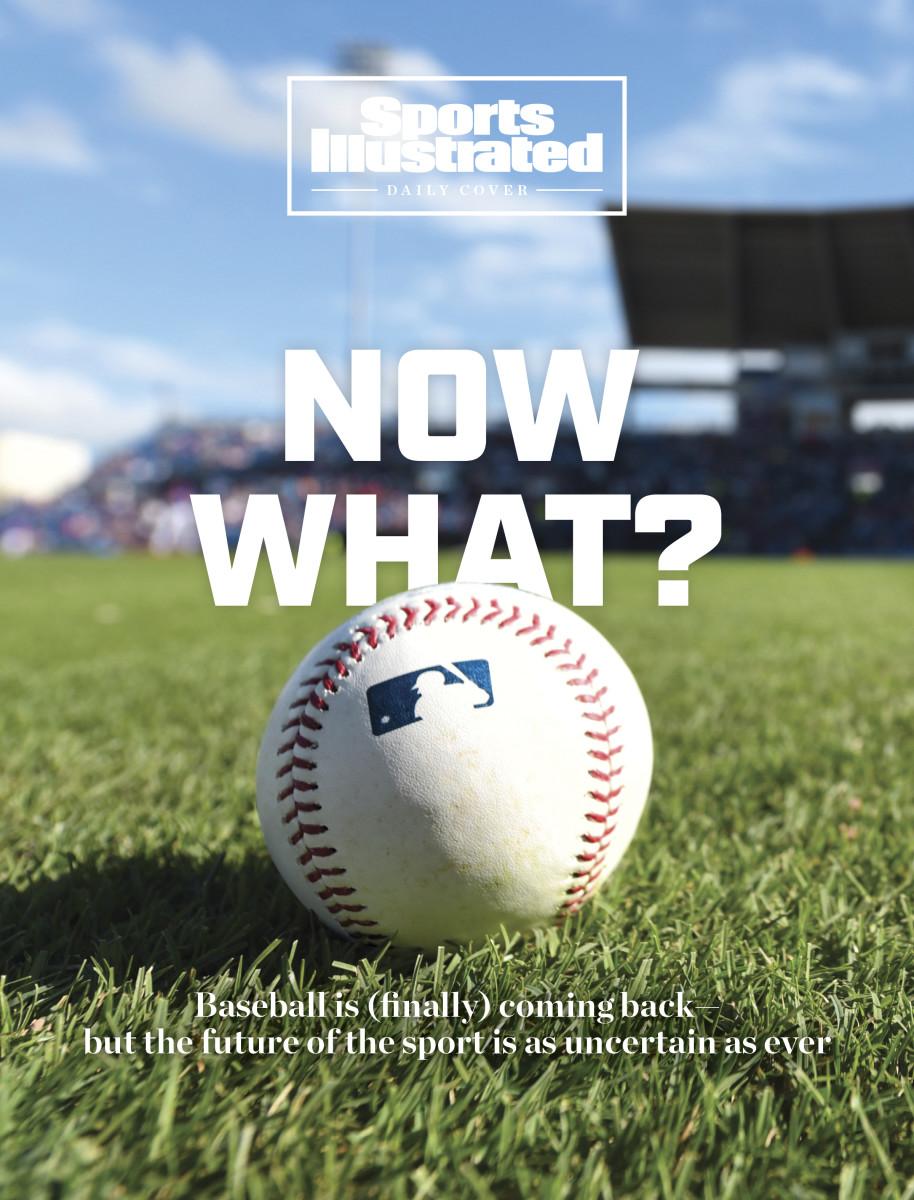 MLB baseball sits on grass