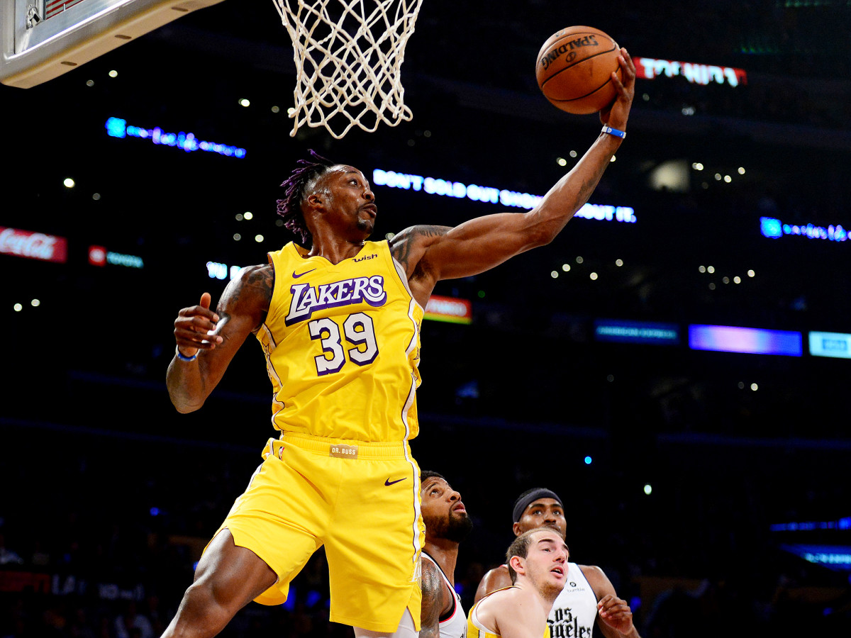 December 25, 2019; Los Angeles, California, USA; The Los Angeles Lakers Center Dwight Howard (39) is recovering against the Los Angeles Clippers in the first half at the Staples Center.