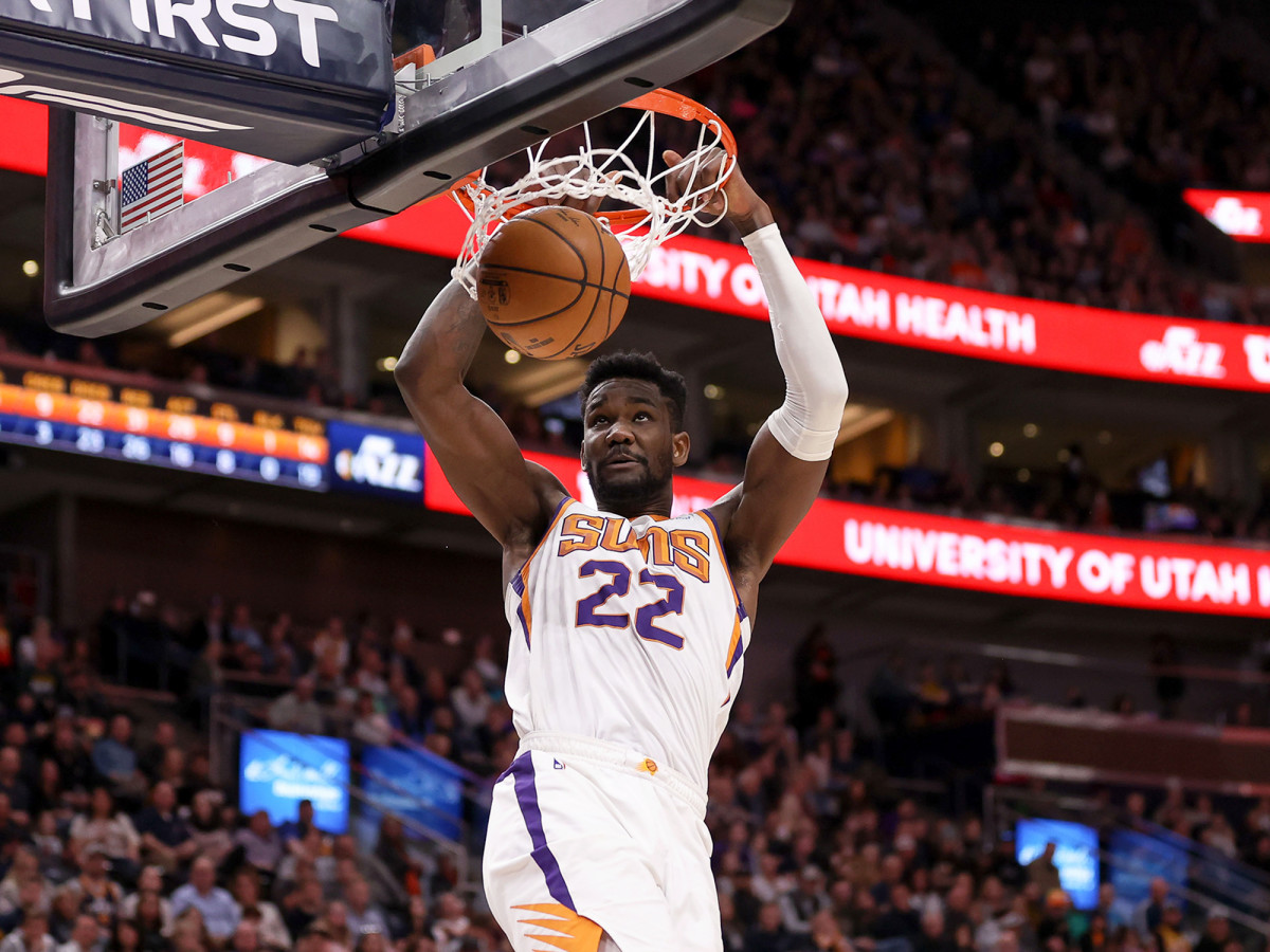 February 24, 2020; Salt Lake City, Utah, USA; The Phoenix Suns Center Deandre Ayton (22) plays against Utah Jazz in the Vivint Smart Home Arena in the fourth quarter. The suns won 131-111.