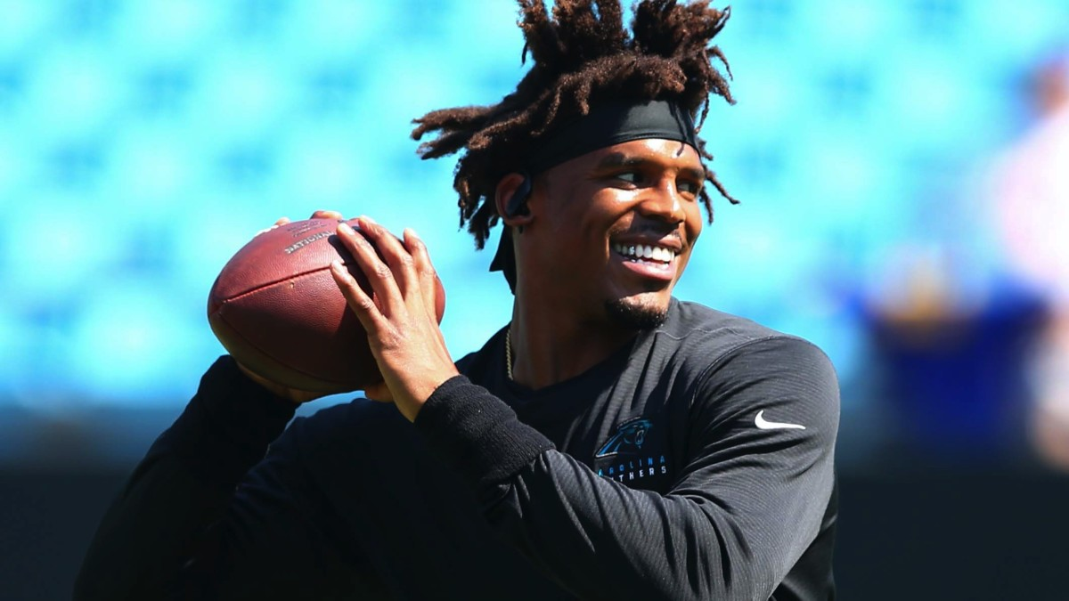 Carolina Panthers quarterback Cam Newton warms up prior to a game against the Los Angeles Rams at Bank of America Stadium.