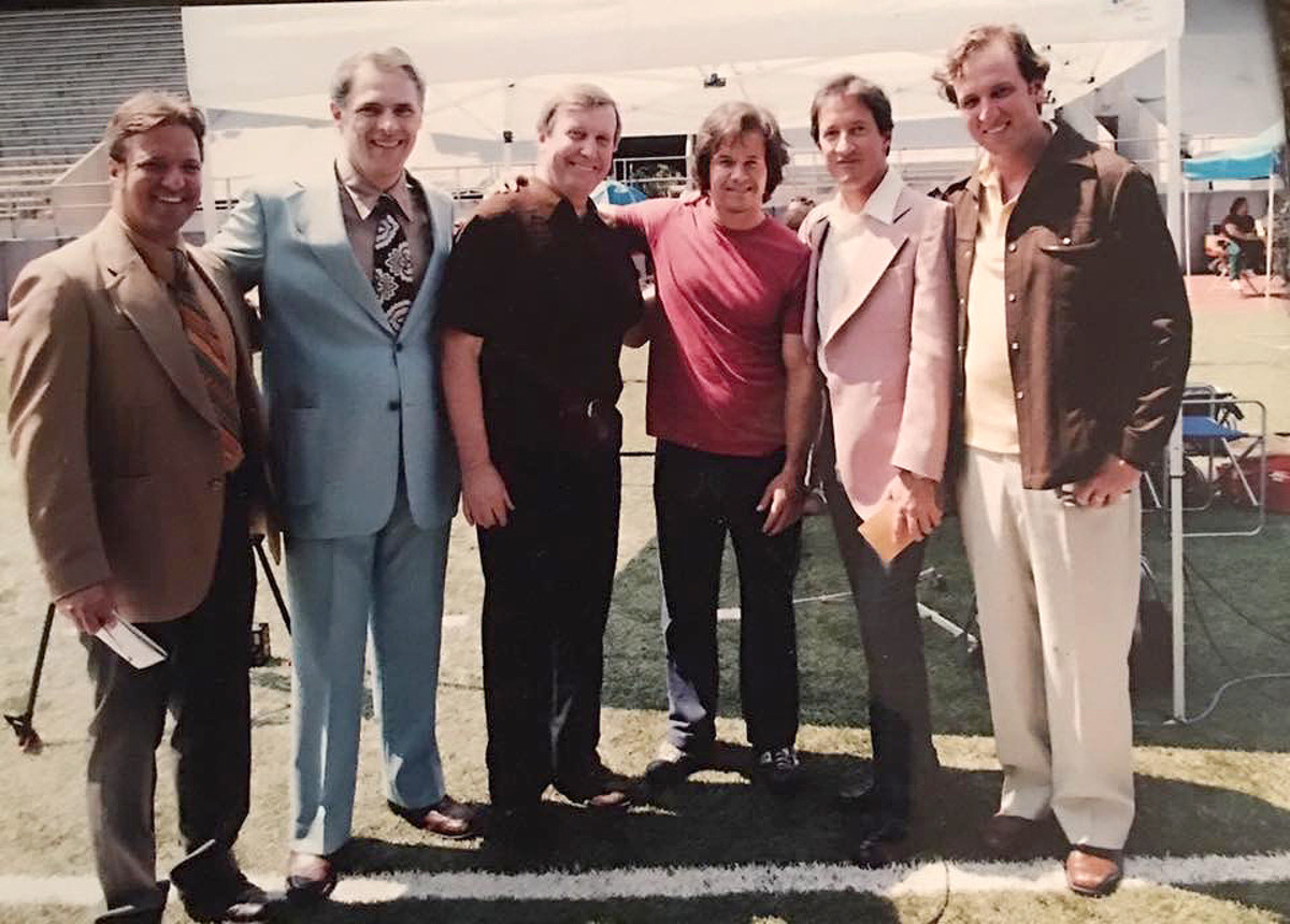 """Donnie Brasco"" (second from right) and Farmer (far right) had bit parts alongside Mark Wahlberg in the movie Invincible."