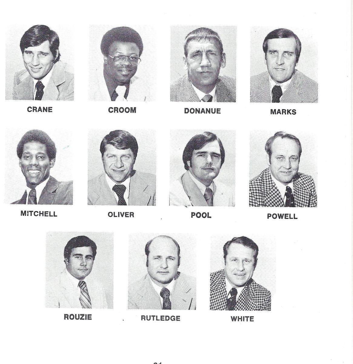 1977 Coaching staff.