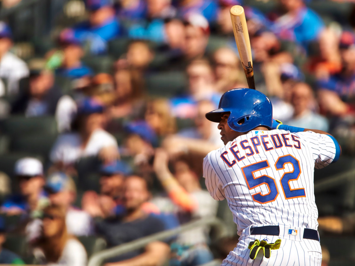 Yoenis Cespedes stands at the plate
