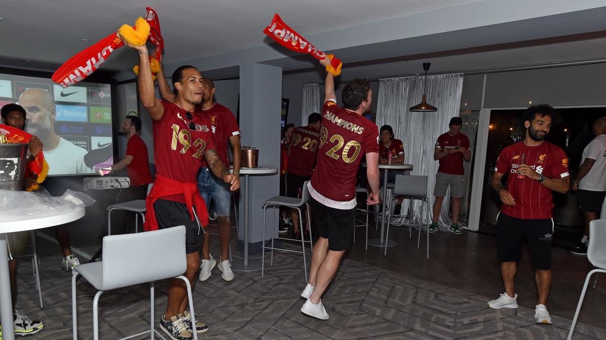 Liverpool celebrates winning the Premier League