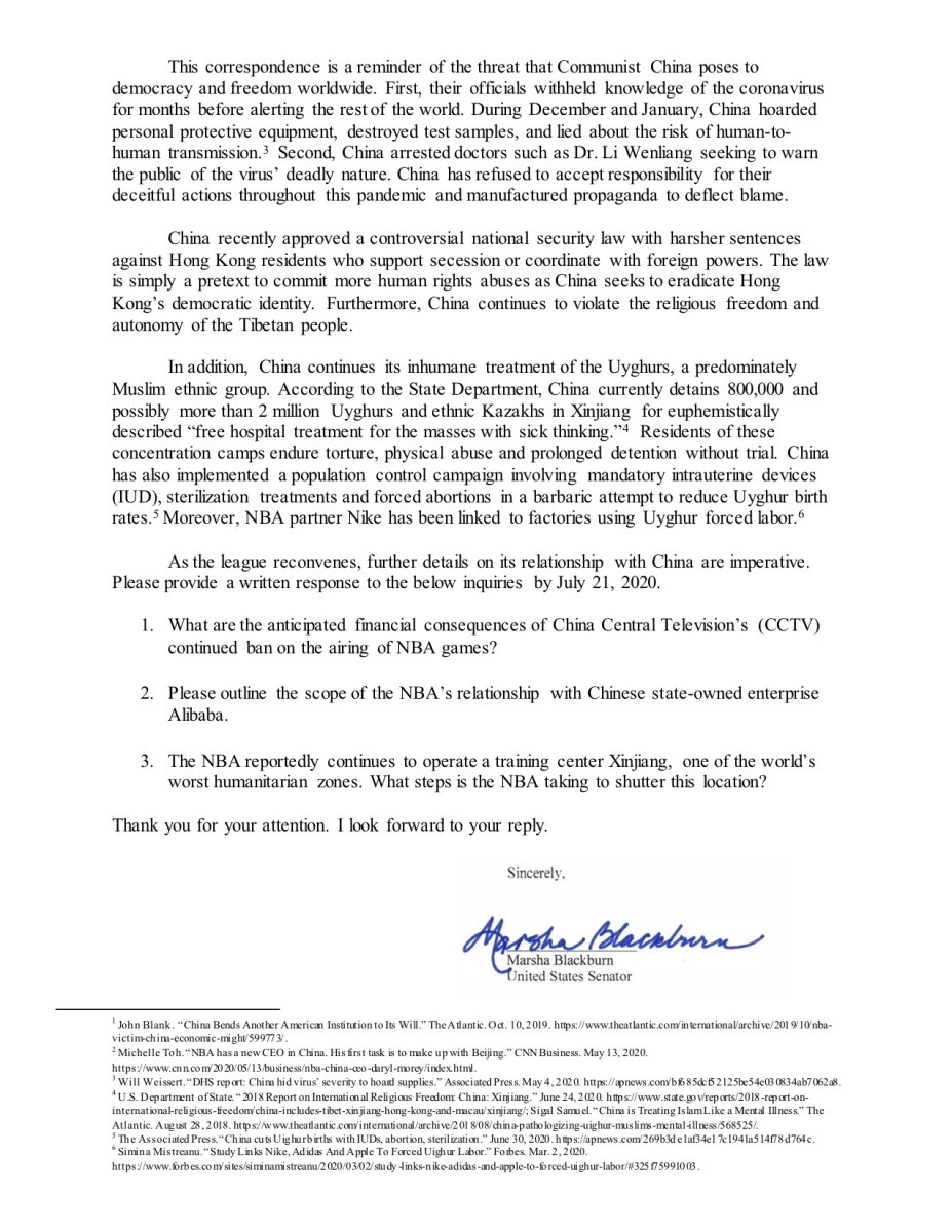 Blackburn NBA letter