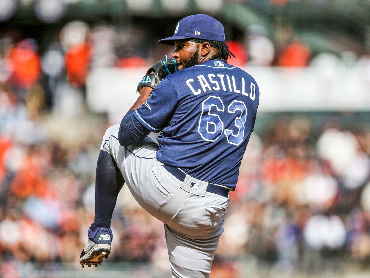 Diego Castillo throws a pitch