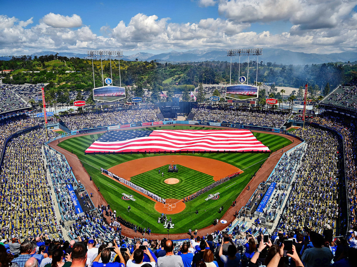 American flag on the field of Dodger Stadium.