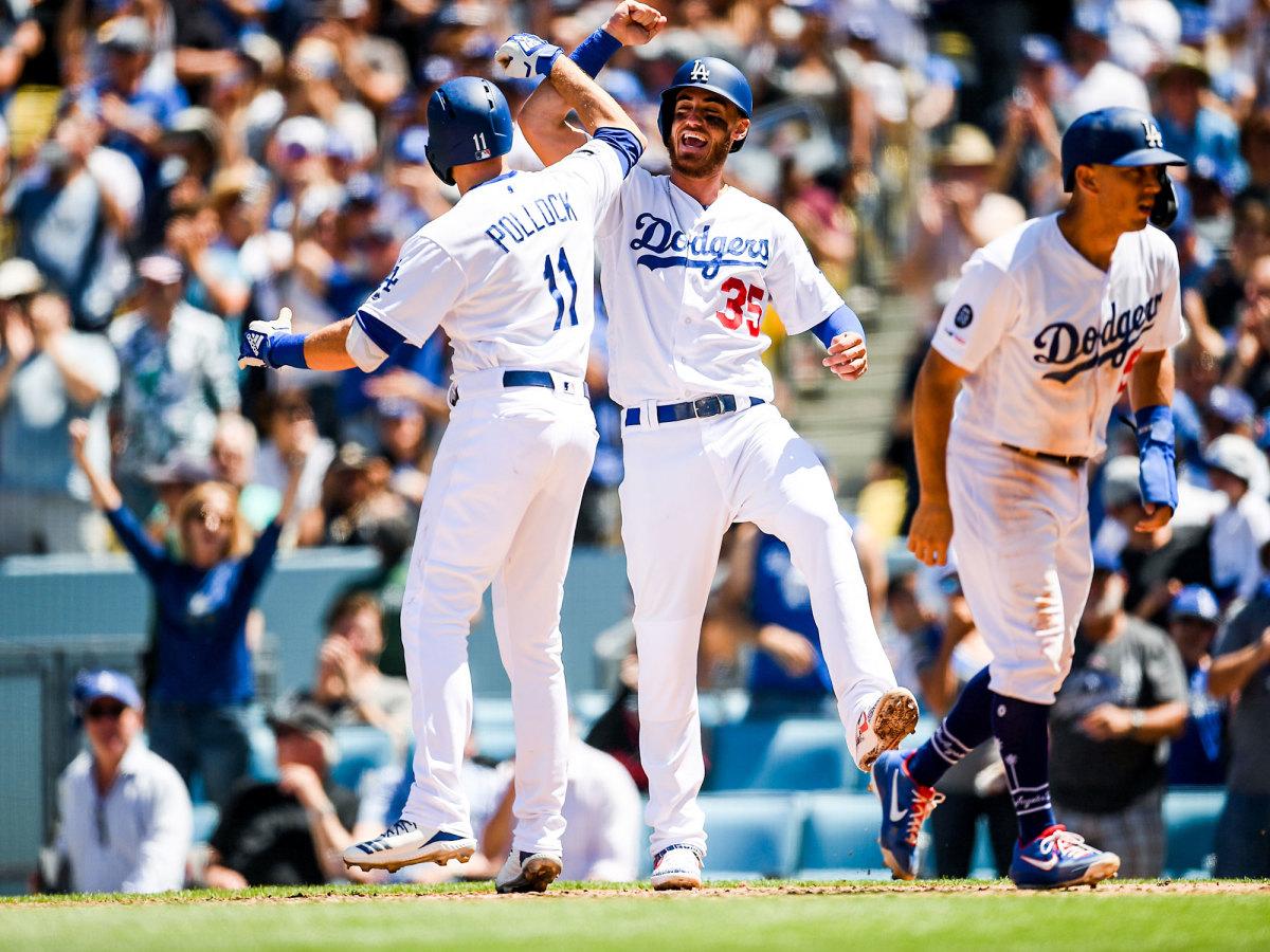 Dodgers teammates celebrate