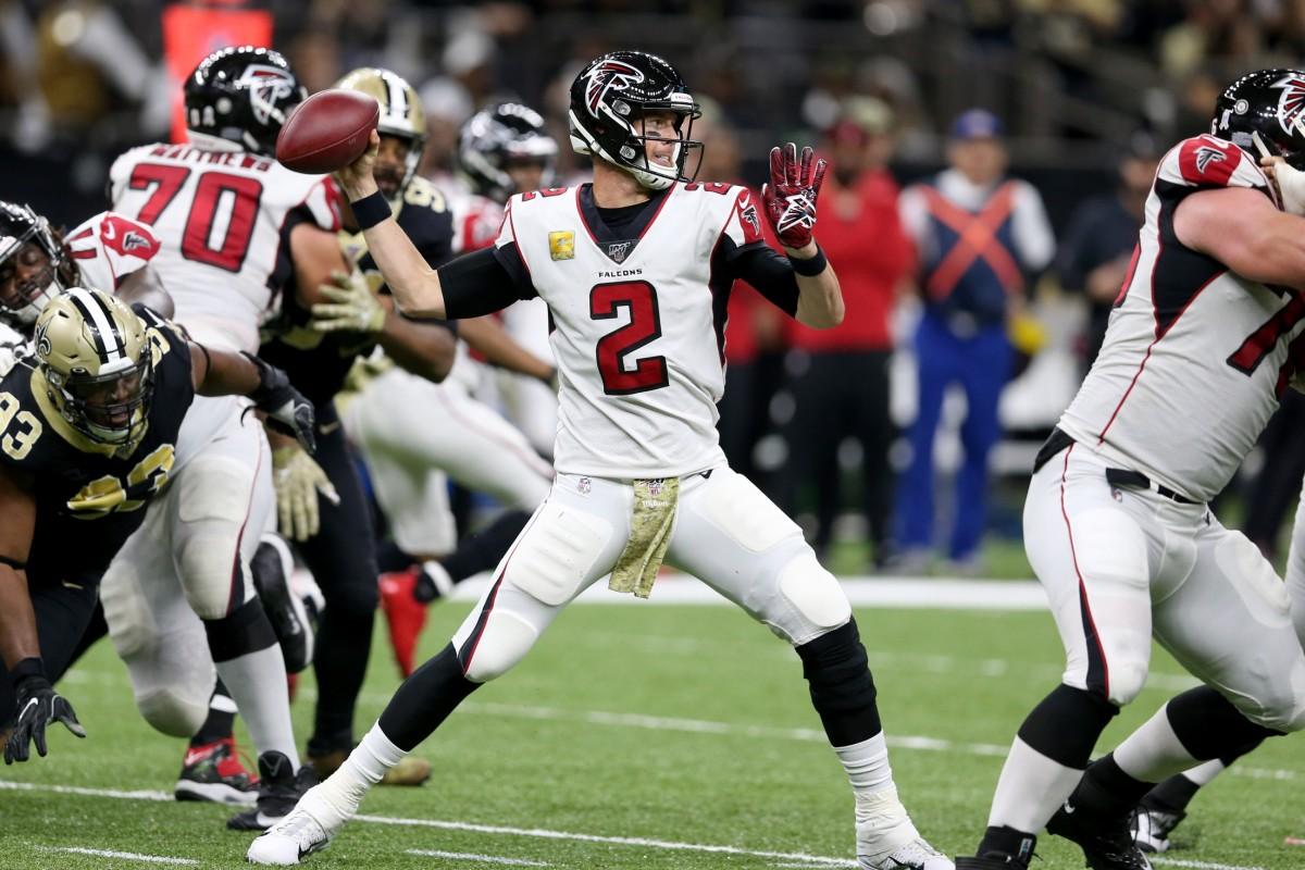 Nov 10, 2019; New Orleans, LA, USA; Atlanta Falcons quarterback Matt Ryan (2) throws a pass against the New Orleans Saints in the second half at the Mercedes-Benz Superdome. Mandatory Credit: Chuck Cook-USA TODAY Sports