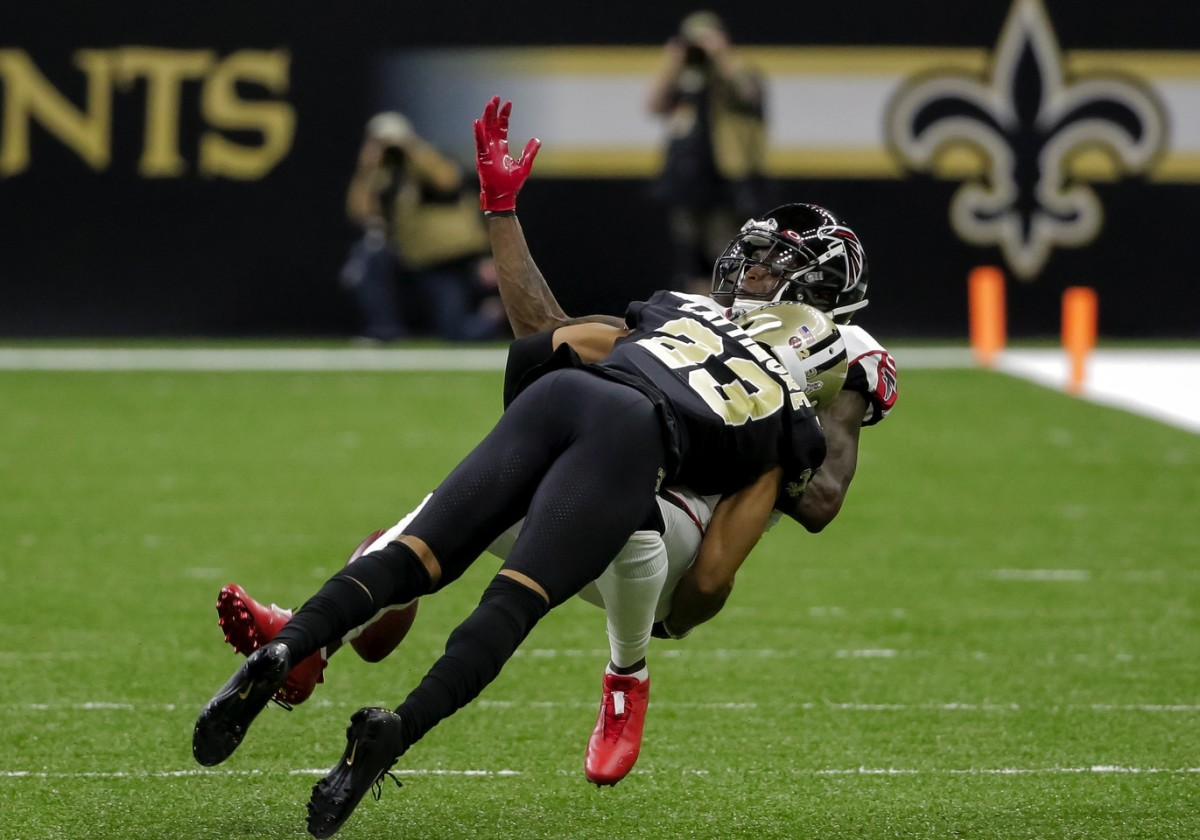 Nov 10, 2019; New Orleans, LA, USA; New Orleans Saints cornerback Marshon Lattimore (23) breaks up a pass to Atlanta Falcons wide receiver Julio Jones (11) during the first half at the Mercedes-Benz Superdome. Mandatory Credit: Derick E. Hingle-USA TODAY Sports