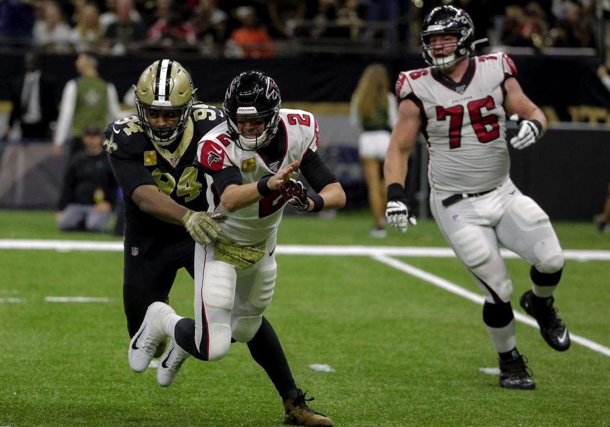 Nov 10, 2019; New Orleans, LA, USA; New Orleans Saints defensive end Cameron Jordan (94) hits Atlanta Falcons quarterback Matt Ryan (2) as he throws during the first half at the Mercedes-Benz Superdome. Mandatory Credit: Derick E. Hingle-USA TODAY Sports