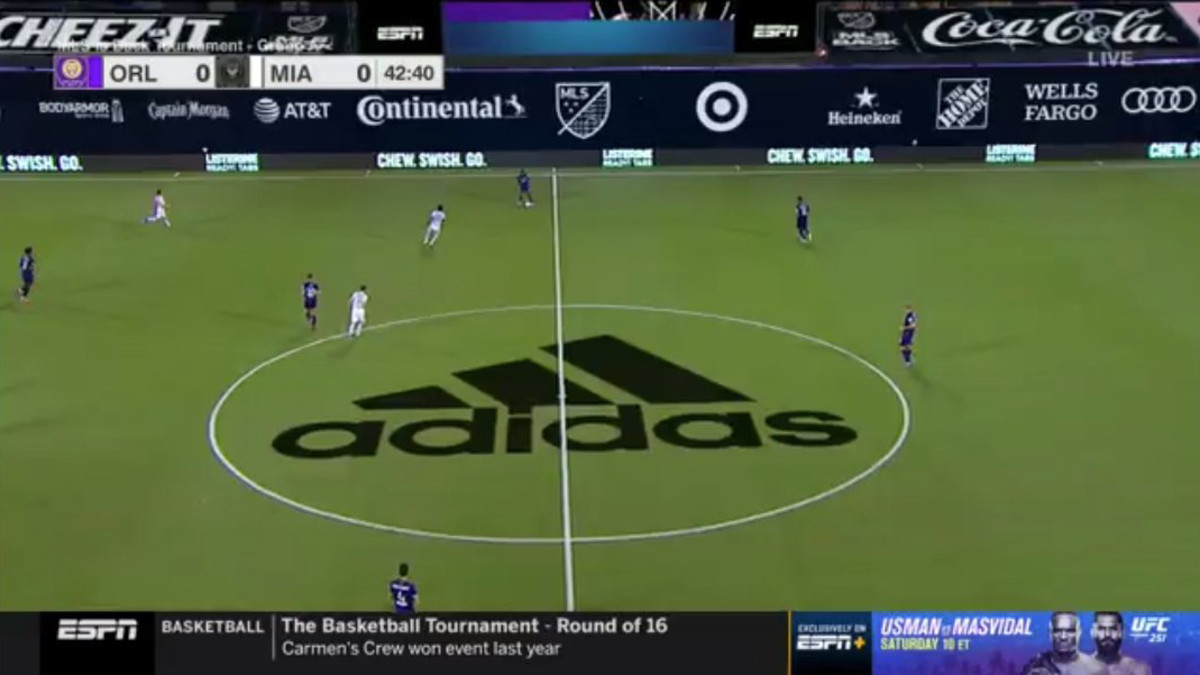 Screenshot of ESPN MLS broadcast showing ads on screen