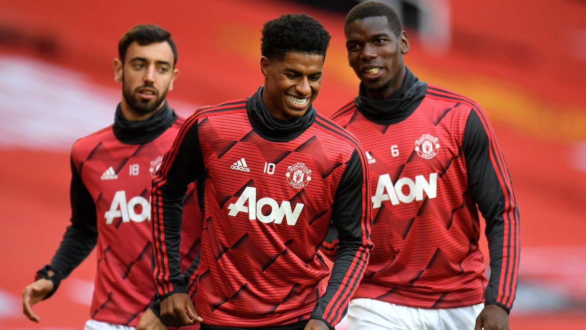 Manchester United's Bruno Fernandes, Marcus Rashford and Paul Pogba