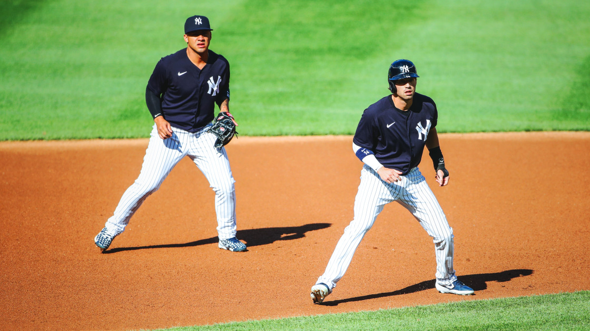 Tyler Wade on second base in Yankees intrasquad